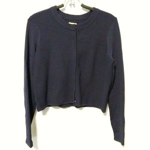 REISS Navy blue structured cardigan semi cropped